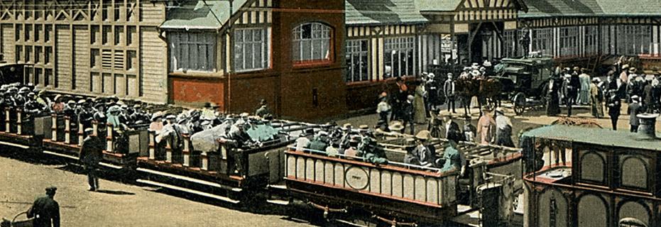 Steam-hauled tram leaving Portrush Railway Station